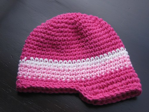 Newsboy Baby Hat Pattern - Pink White