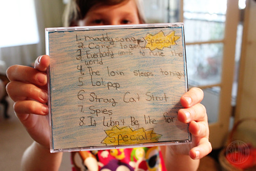 handwritten playlist for CD cover