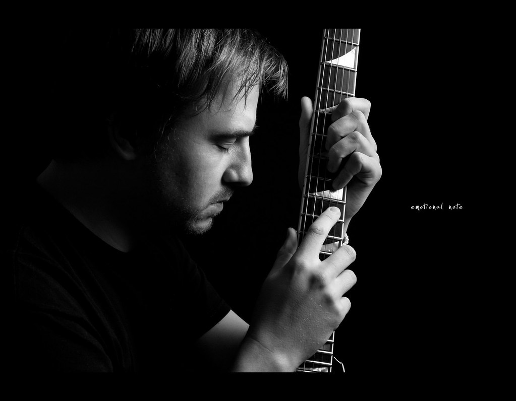 Project 365, Day 292, 292/365, Strobist, Self Portrait, guitar, jackson cs rhoads, Jackson RR. on Black, black background, portrait, guitar,