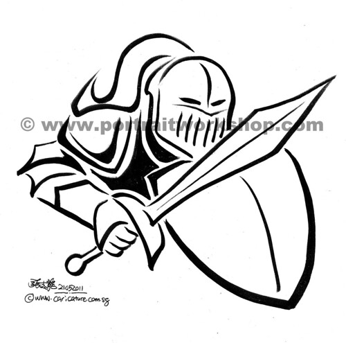 Knight logo in brush stroke (watermark)