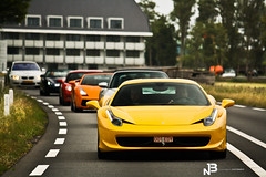 458 Italia @ Supercardrive (BjornNieborg) Tags: netherlands yellow canon is rotterdam driving automotive ferrari location event 1855 lamborghini supercar gallardo 458 55250 eos1000d supercardrive