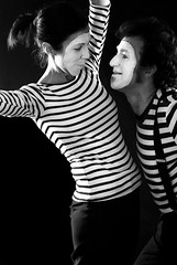 Mimi (gi87) Tags: portrait bw love smile dance couple faces scene mimi expressive bang act actions togheter
