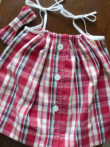 Men's button-down shirt turned into baby pillowcase dress
