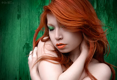 Feeling Alone (Ben Heine) Tags: light red brussels portrait woman haircut green art girl beauty face field closeup composition pose naked sadness countryside model solitude mood alone different arms belgium nu vibrant femme softness thoughtful makeup lips sensual muse special trouble passion reflective pensive expressive lonely lipstick shoulders emotional redhair contemplative mayhem maquillage pinup emotive tristesse visage seul coiffure closedeyes musing meditative broody preoccupied pensif colorcontrast peaudouce softskin yeuxferms benheine feelingalone braives cogitative douveur carolinemadison