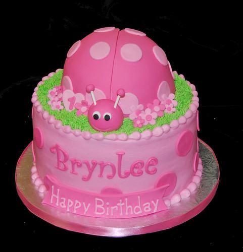 pink Polka dot ladybug 1st birthday cake
