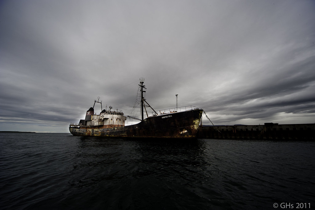 """Old and abandoned ship, Þór, which was once used in so called """"þorskastríð (God-war)"""" between the Icelanders and the British, last decade."""