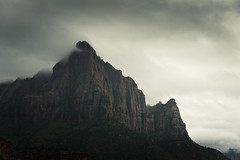 Zion (songallery) Tags: usa mountain rain weather rock fog dark landscape landscapes utah nationalpark moody gloomy cloudy foggy rocky ambient zion atmoshpere