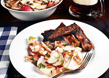 German Potato Salad on plate with spareribs