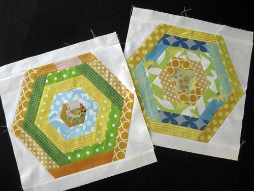 Hexagon bee blocks - Love circle.