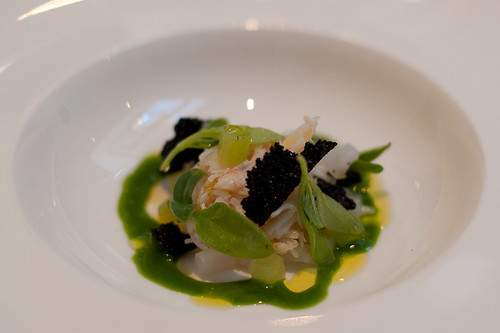 Flaky crab and mallow cream, young squid and cucumber