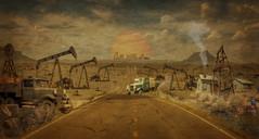Nodding Donkey's (brian_stoddart) Tags: drilling old oilfield trucks buildings road sky oilrig