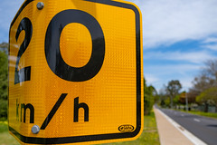 Bending the Rules (Claude downunder) Tags: road sign outdoors speed limit traffic bathurst nsw australia