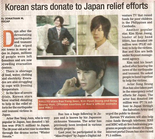 Kim Hyun Joong, Bae Yong Joon and Song Seung Heon's Donation on Manila Bulletin