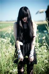 The Death of the Rebirth (Sachie Nagasawa - somewhair) Tags: summer woman plant flower nature fleur thread girl field fashion season femme fil story histoire string t m