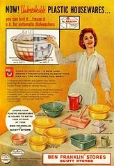 Meet Polly Ethylene! (saltycotton) Tags: vintage magazine ad housewares advertisement 1950s dishes 1959 polyethylene goodhousekeeping marlex benfranklinstores