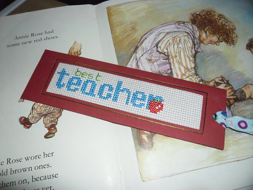 Teacher Cross Stitch BookMark
