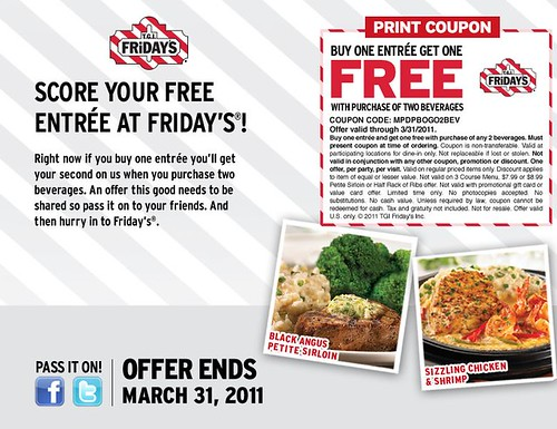 TGI Fridays Free Entree coupon