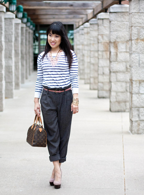 loft striped shirt pink skinny belt urban outfitters paperbag trousers louis vuitton speedy forever 21 pink statement necklace