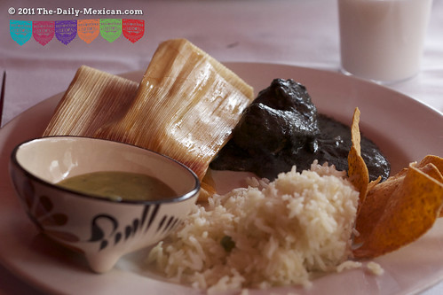 Cuitlacoche Chicken, Tamales, Rice and Totopos Real Mexican Food Buffet · Mestizo, London