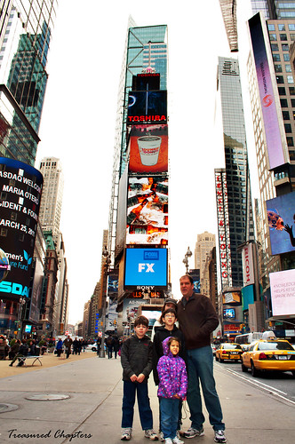 family in Times Square