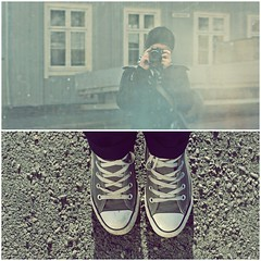 First spring photo walk of the year (mazarin) Tags: camera light sunlight selfportrait me canon myself shoes stones converse dip diiptych