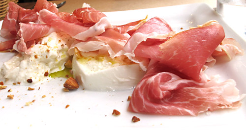 ham, burrata, and mozzarella