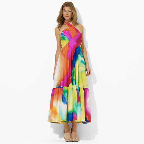 Ralph Lauren Kendi Silk Watercolor Dress