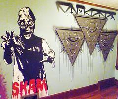 SKAM Mural Painting (SKAM sticker) Tags: streetart oregon studio portland oakland timelapse video handpainted pinkeyes 2010 muralpainting skam 2011 paintingproject bayareaartist johnnytragedy