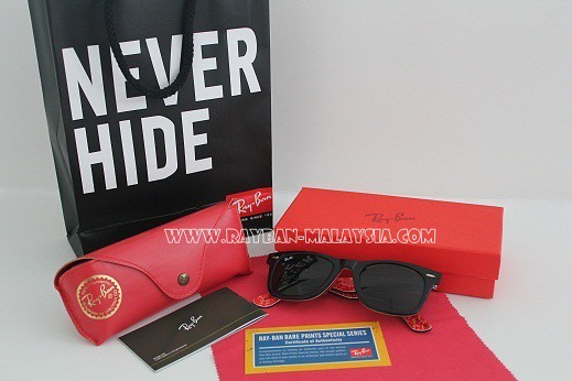 wayfarer rare prints ray ban text red