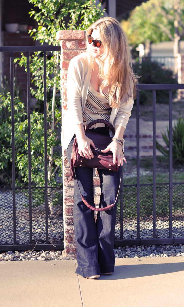 flared Jeans and bag and jimmy choos