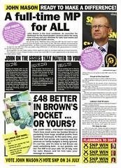 SNP Glasgow East by-election leaflet, 2008 (Scottish Political Archive) Tags: party scotland glasgow mason scottish east national publicity 2008 campaign byelection snp