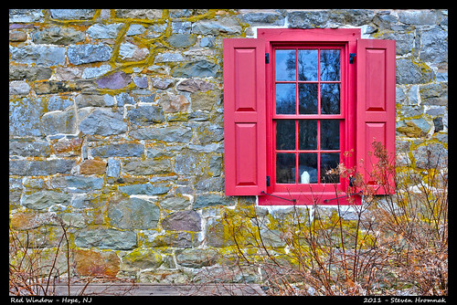 Red Window with Stone