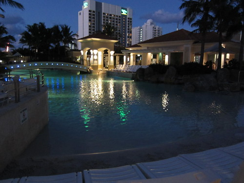 Nighttime pool