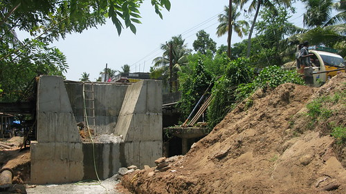 widening works on progress on Nayarambalam bridge