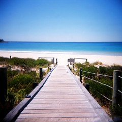 Bunker Bay (Kerrie McSnap) Tags: blue sky color colour 120 film beach mediumformat square holga lomo lomography path toycamera boardwalk wa westernaustralia bunkerbay