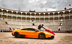 Undeniable Awesomeness (Thomas van Rooij) Tags: madrid life orange motion cars car speed photography movement spain nikon fighter photoshoot thomas stadium awesome automotive super location bull arena spanish experience stadion fighting panning incredible lamborghini arancio toro supercar sv toreador bullring borealis supercars murcielago 18105 matador torero plazadetoros ol veloce bulfighting lasventas dreamcar d90 hypercar rooij worldcars superveloce lp6704 lp670 thomasvanrooij