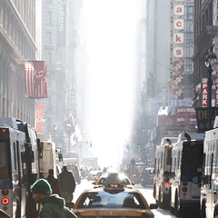 NewYorkMorning (wesbs) Tags: street nyc newyorkcity morning light people urban signs cars buses morninglight traffic streetlights manhattan taxis cabs taxicabs