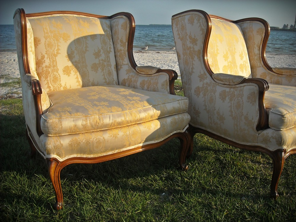 Pair French Hollywood Regency Bergere Lounge Chairs Solid Wood Carved Paris Apartment 1940s Chair