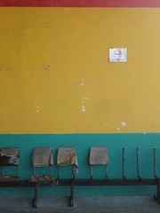 Yellow, green, red and grey - Is this seat taken? (10b travelling) Tags: red abstract color colour bus green station ctb yellow mesoamerica chair mood colore belize empty seat honduras nopeople terminal ten british caribbean belizecity farbe commonwealth americas carsten colony centralamerica brink belice centroamerica 10b almostabstract cmtb tenbrink