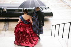 Erin and Jeff off to Parliament Hill (in the rain) for pictures! (Emelote) Tags: rain umbrella groom bride kilt reddress offbeat blacklimo