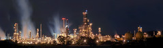 overnight at the refinery - a panorama (pbo31) Tags: california longexposure panorama black color industry northerncalifornia dark lights spring lowlight nikon industrial glow smoke wide large shell steam oil bayarea april eastbay martinez refinery 680 overnight 2011 contracostacounty d700 mococo