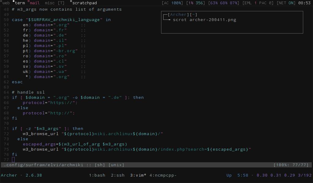 Arch Linux: dwm, tmux & scratchpad