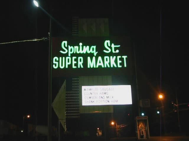 Spring St. Super Market neon sign