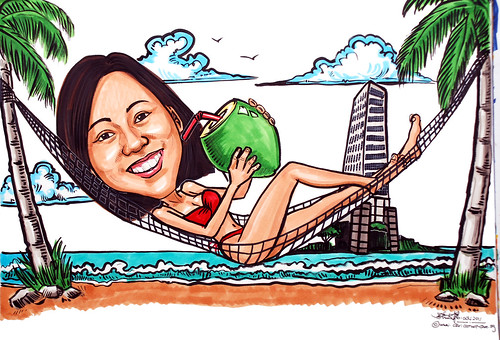 lady caricature in bikini on hammock for SGX