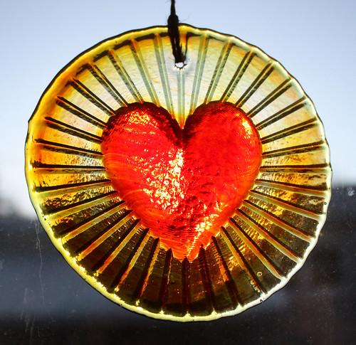 Heart suncatcher ablaze