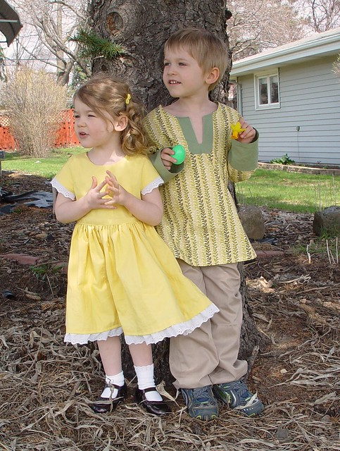 Kiddos in their Easter Clothes