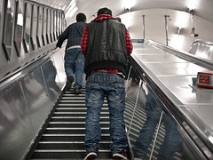 Urban Lumberjack (Magic Pea) Tags: street red man black london shirt londonbridge underground subway photography photo candid escalator tube streetphotography streetlife trainers jeans unposed lumberjack centrallondon magicpea