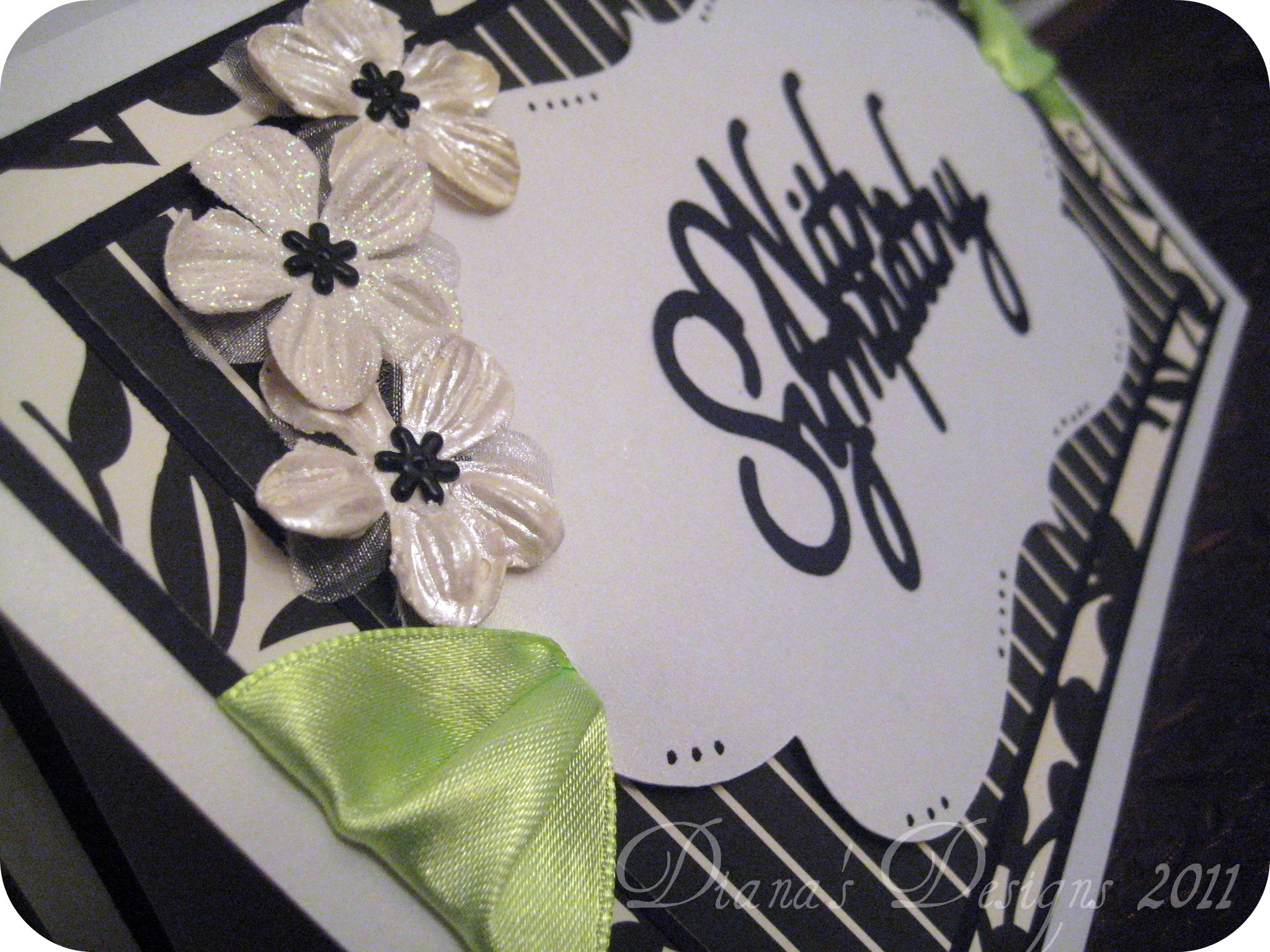 Sympathy Card in Black, White and Green