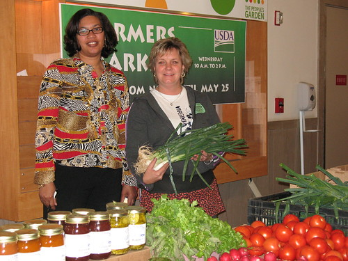 Velma Lakins, USDA Market Manager (left) shares a market moment with vendor Tracy DeBarnard  of Virginia's C&T ProduceVelma Lakins, USDA Market Manager (left) shares a market moment with vendor Tracy DeBarnard  of Virginia's C&T Produce