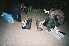 Christos & Dmitry. (Steven Alan) Tags: music yashicat5 tunes keyboards margate beats kodakprotra400nc